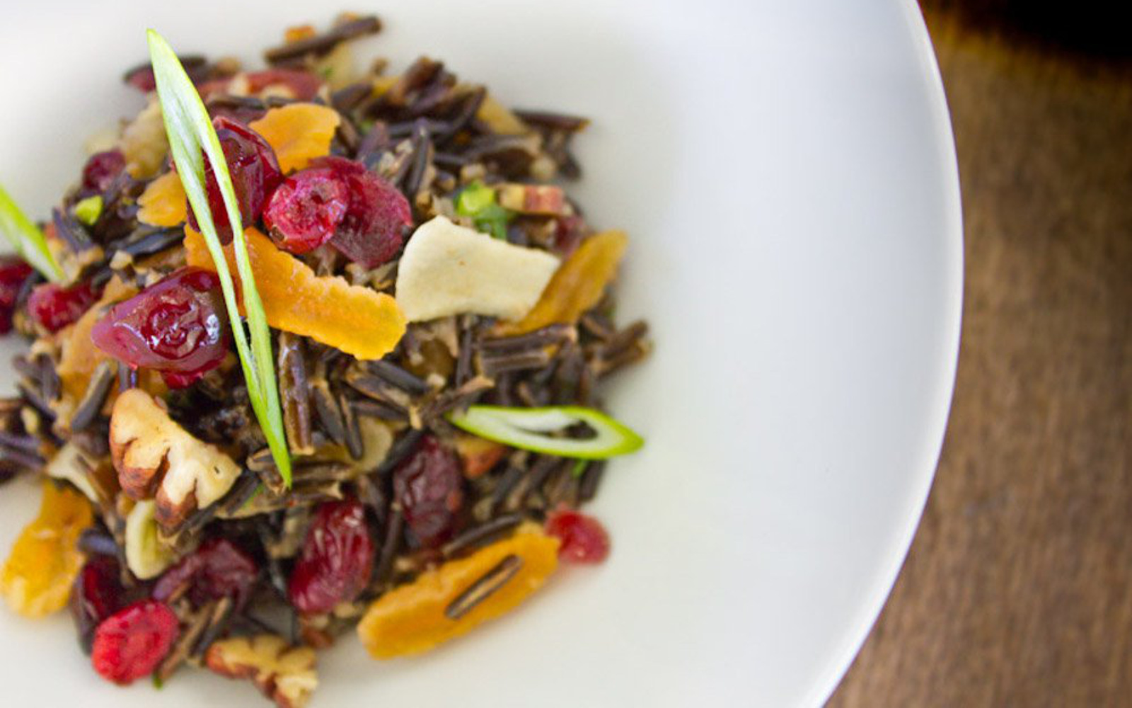 Wild Rice Stuffing With Cranberry, Apricot, and Scallion