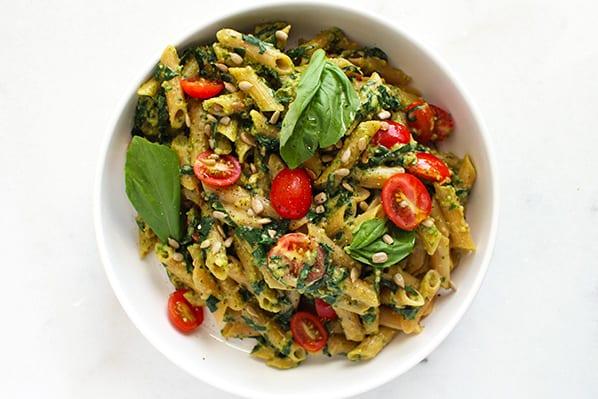 Five Ingredient Nut-Free Pesto Pasta