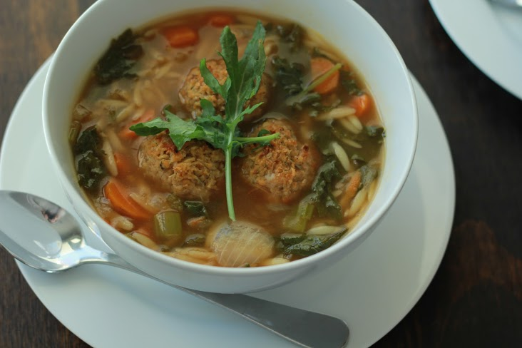 Orzo Soup with White Bean Balls