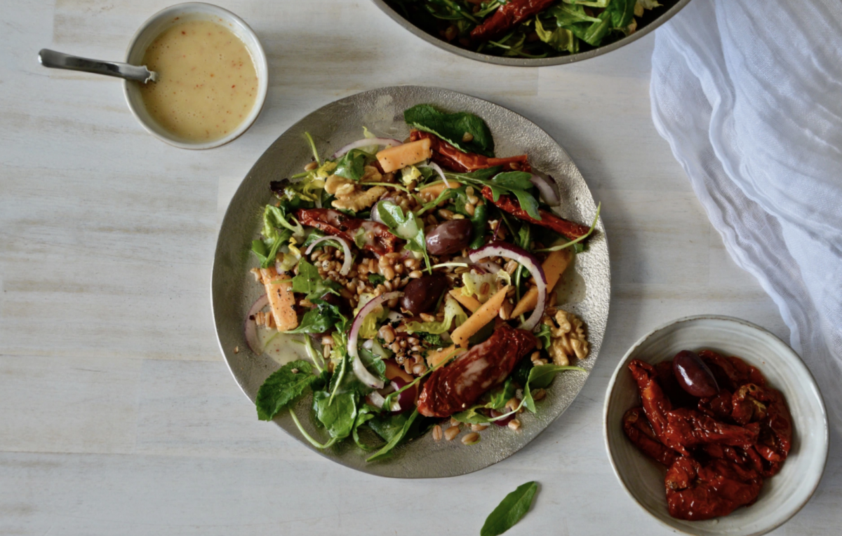 Vegan Farro, Arugula and Cantaloupe Salad
