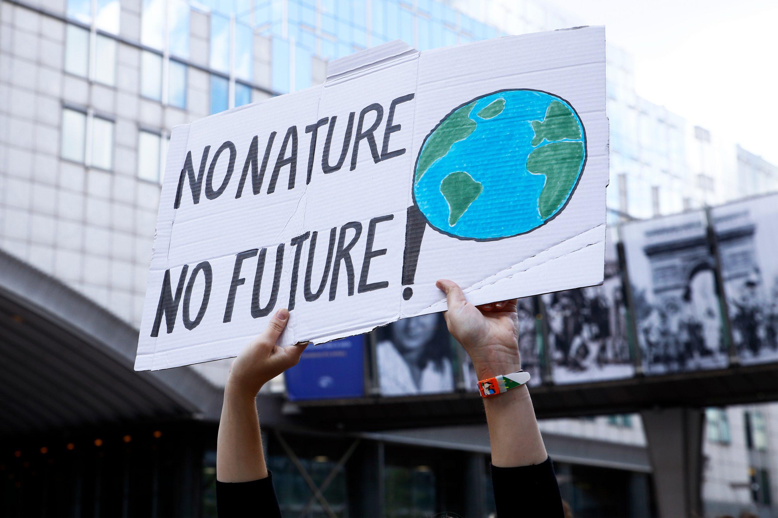 sign says no nature no future