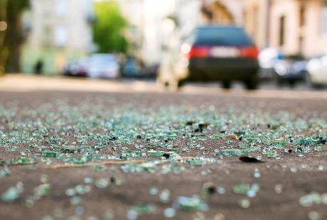 broken glass on street