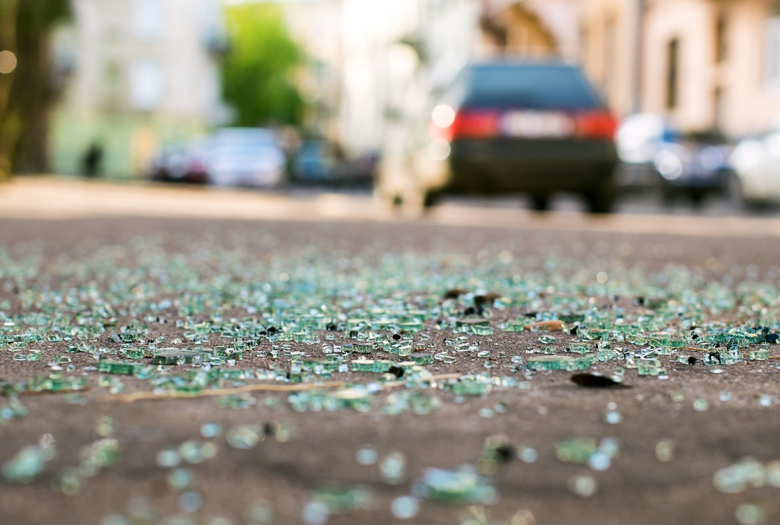 broken glass on street