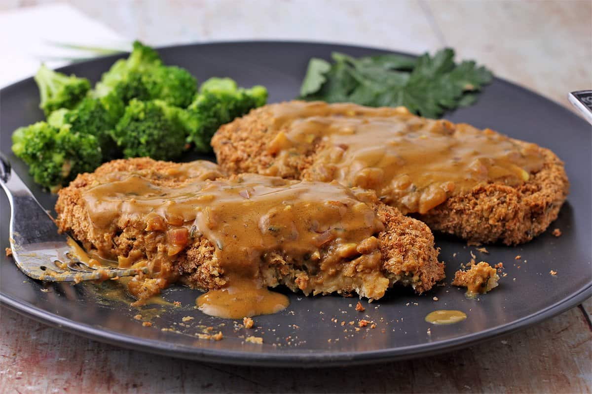 Vegan Chickpea Cutlets with Savory Mustard Sauce