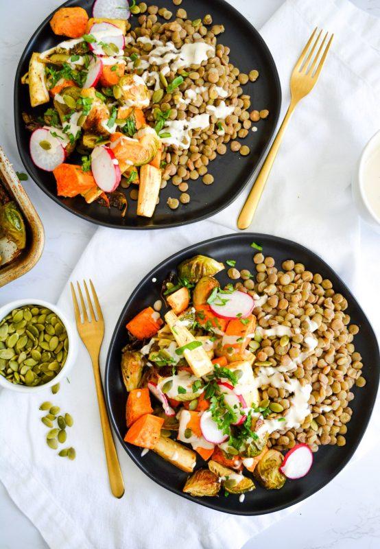 Vegan Herb Roasted Autumn Harvest Bowls