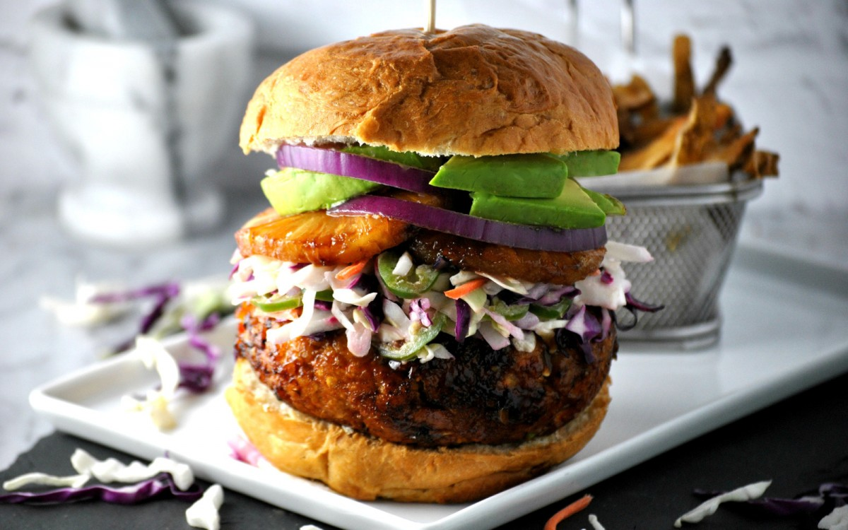 Hawaiian Teriyaki Chickpea Burger
