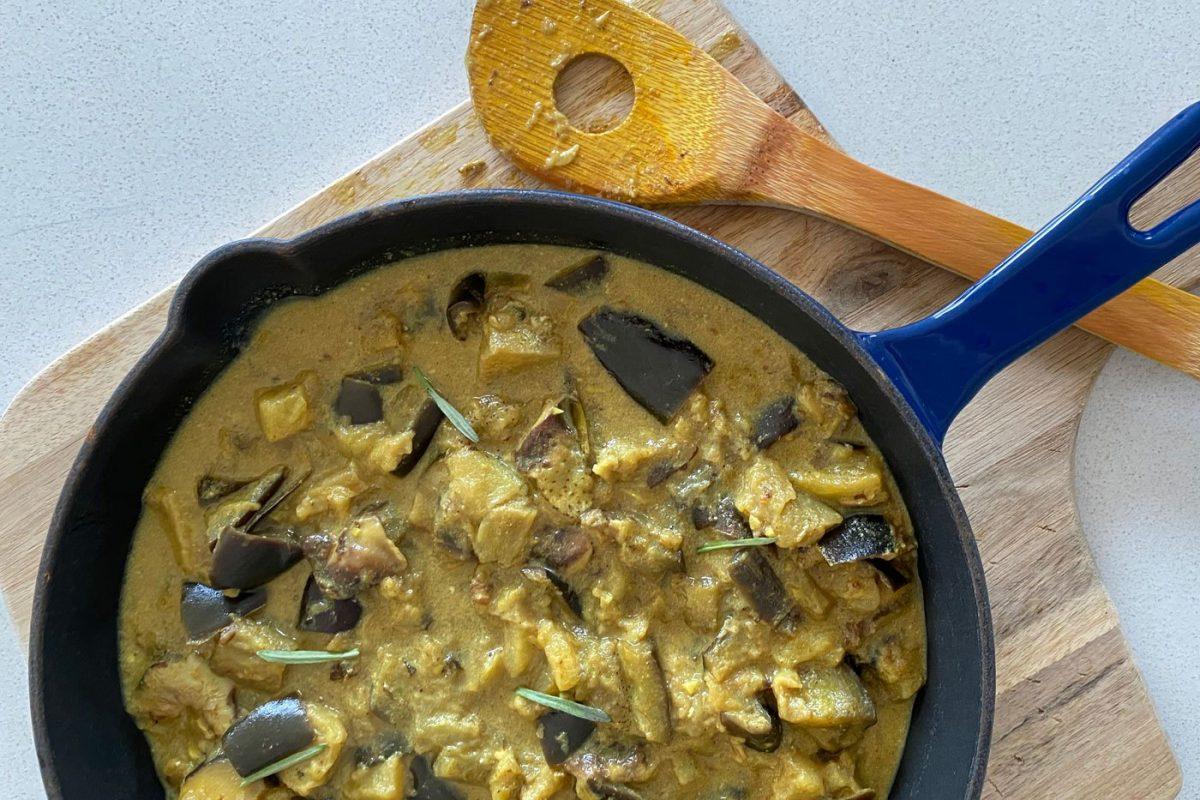 Vegan Indian Spiced Mushroom and Eggplant Curry
