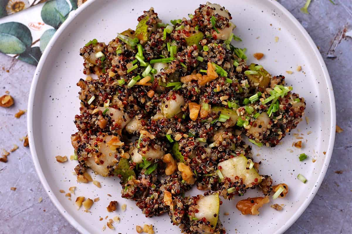 Vegan Rainbow Quinoa and Pear Salad