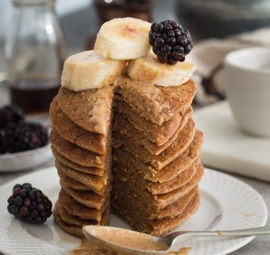Vegan Peanut Butter and Banana Pancakes