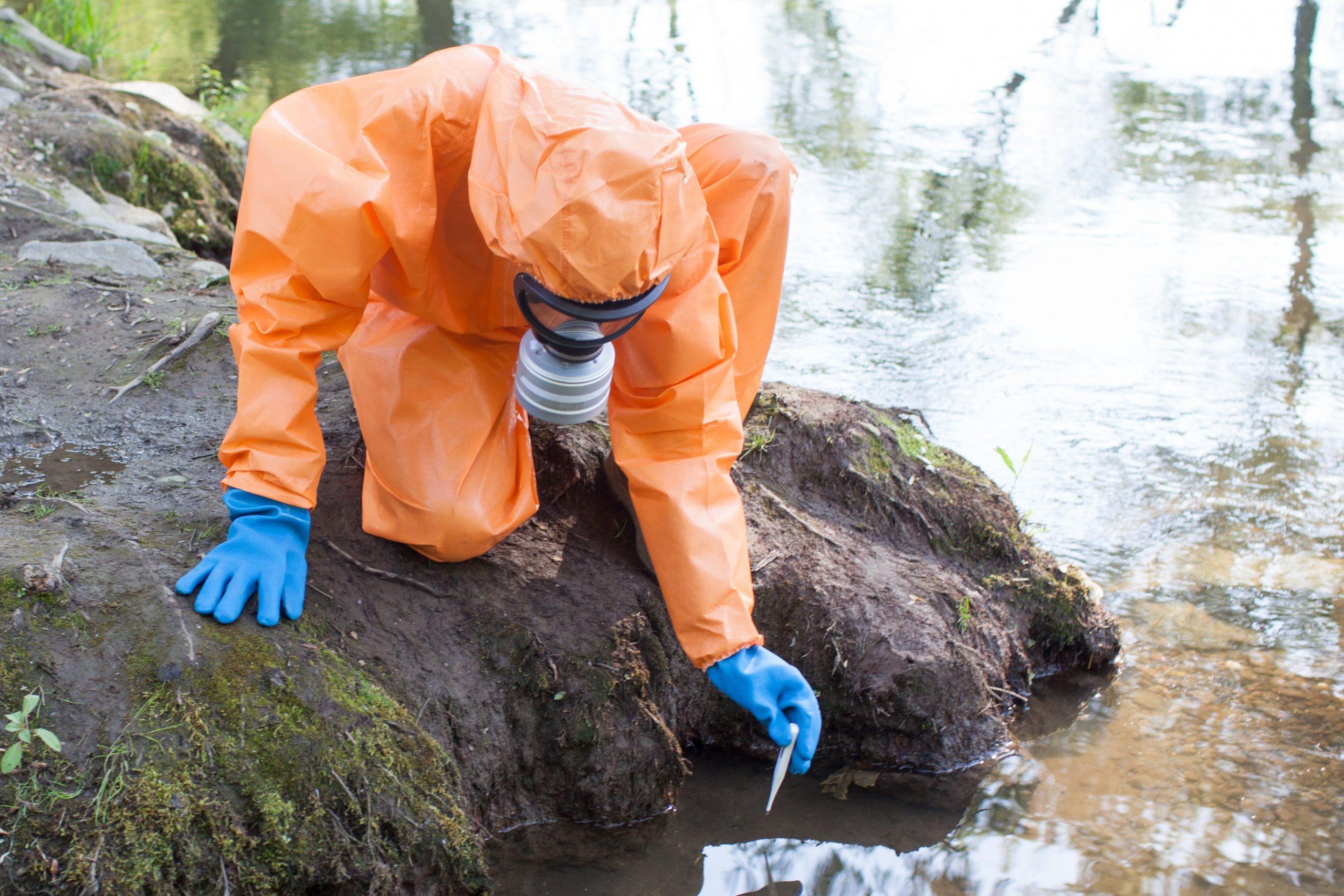 scientist testing water