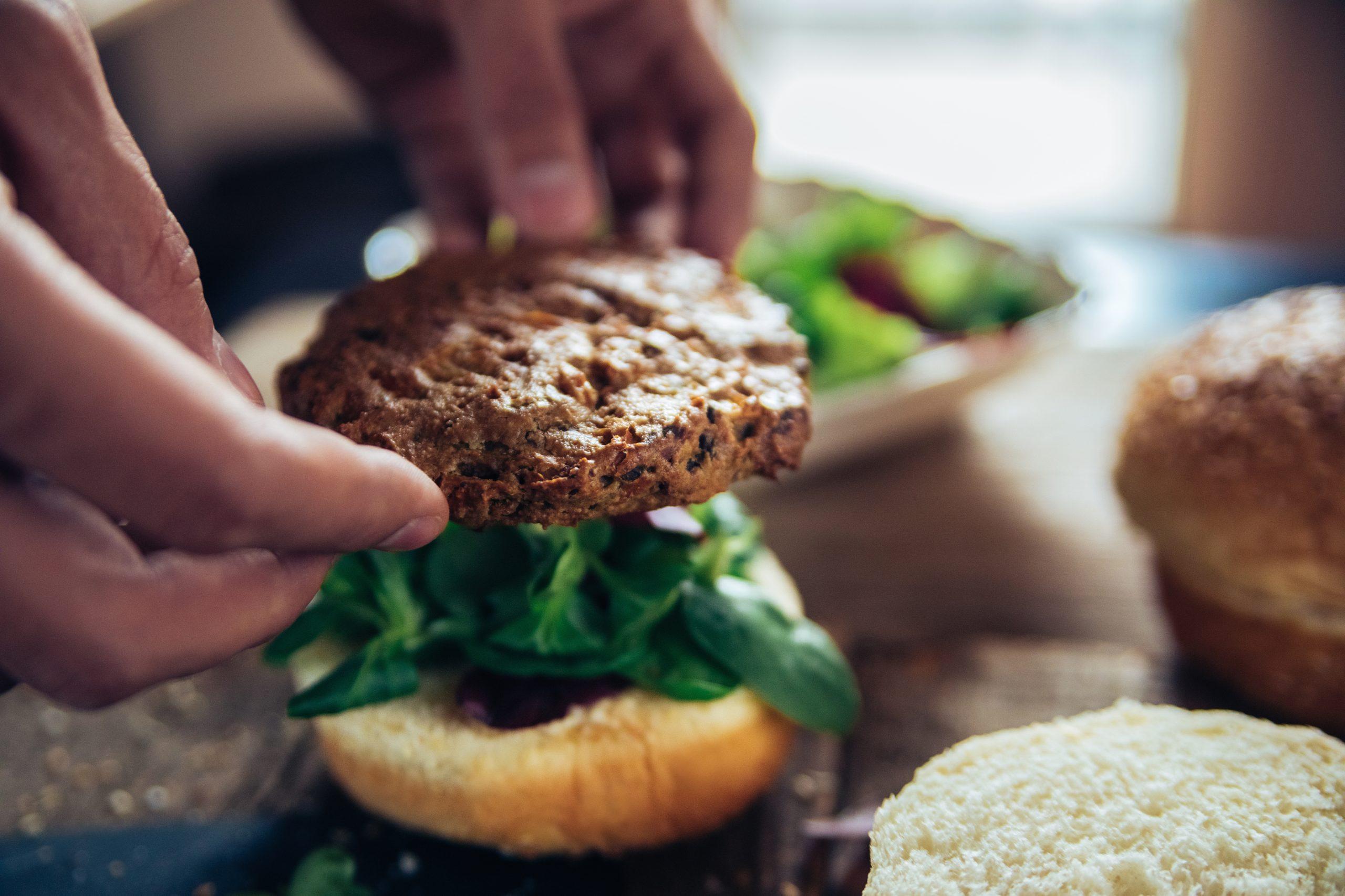assembling veggie burger