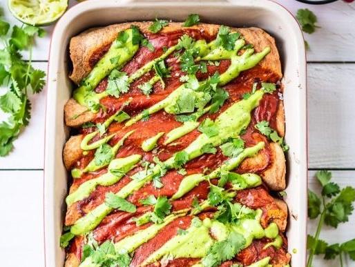 Vegan Sweet Potato and Black Bean Enchiladas