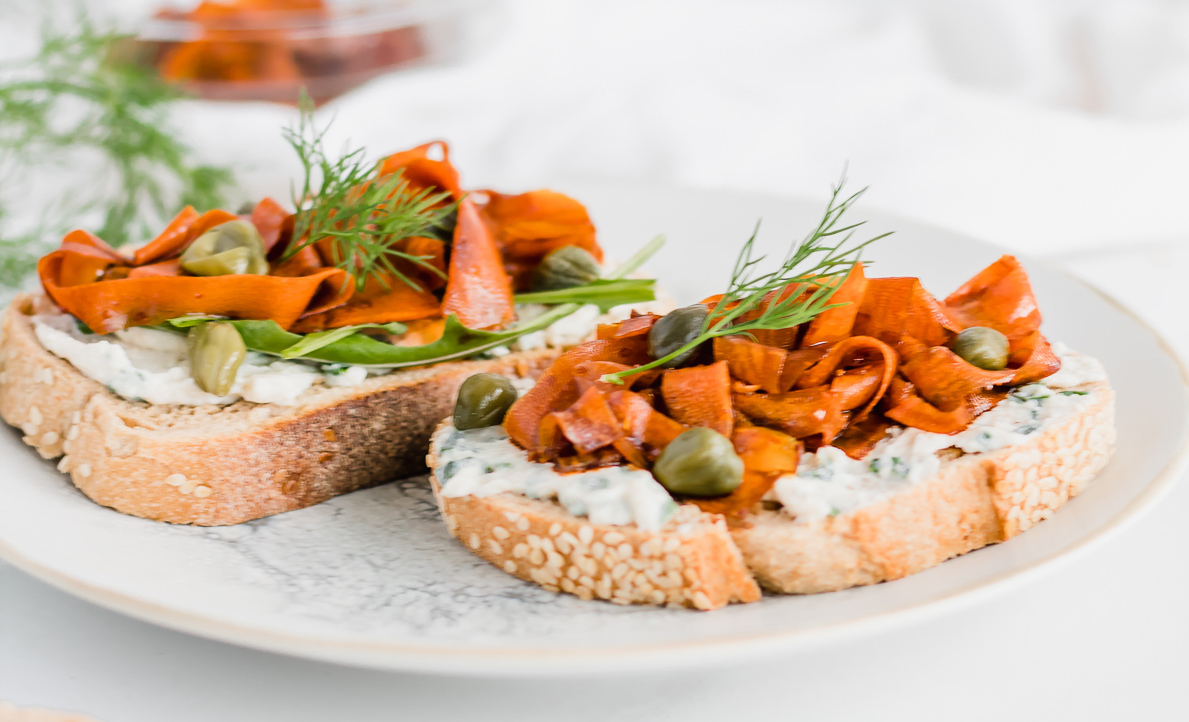 Vegan Carrot Lox Toast with Herbed Cheese