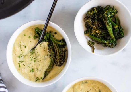 Creamy Vegan White Bean Soup + Sautéed Broccolini