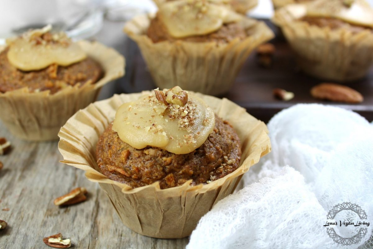 Vegan Festive Carrot Cake Muffins with Maple Curd & Pecans