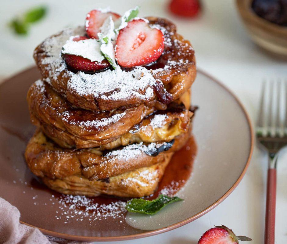 Vegan Balsamic Strawberry Brioche French Toast