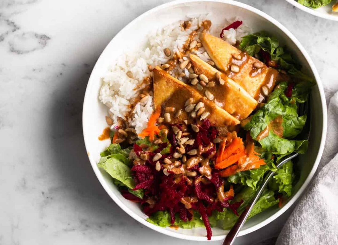 Cozy Winter Salad with Crispy Tofu and Rice