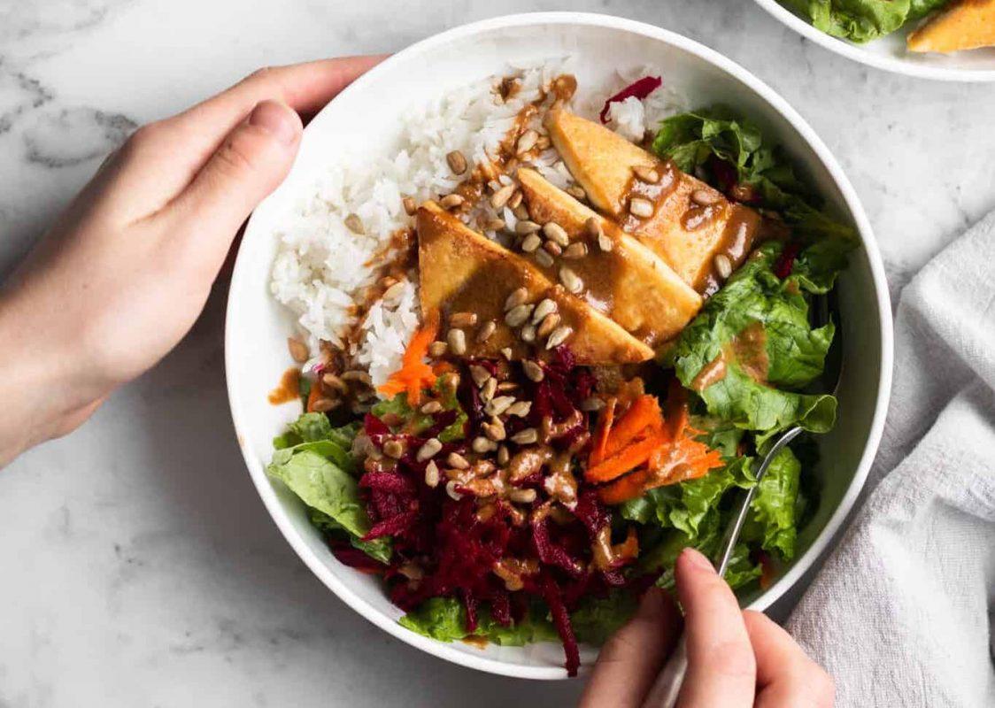 Vegan Cozy Winter Salad with Crispy Tofu and Rice