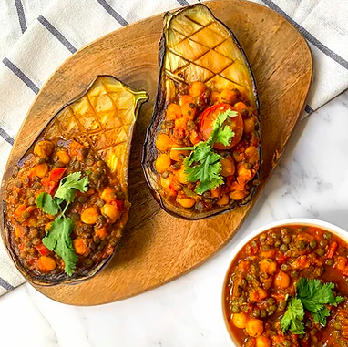 Chickpea and Lentil Stuffed Eggplant