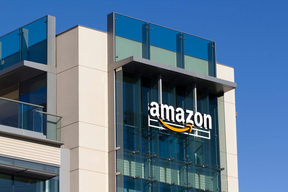 Palo Alto, CA, USA - Feb 18, 2020: The Amazon logo seen at Amazon campus in Palo Alto, California. The Palo Alto location hosts A9 Search, Amazon Web Services, and Amazon Game Studios teams.