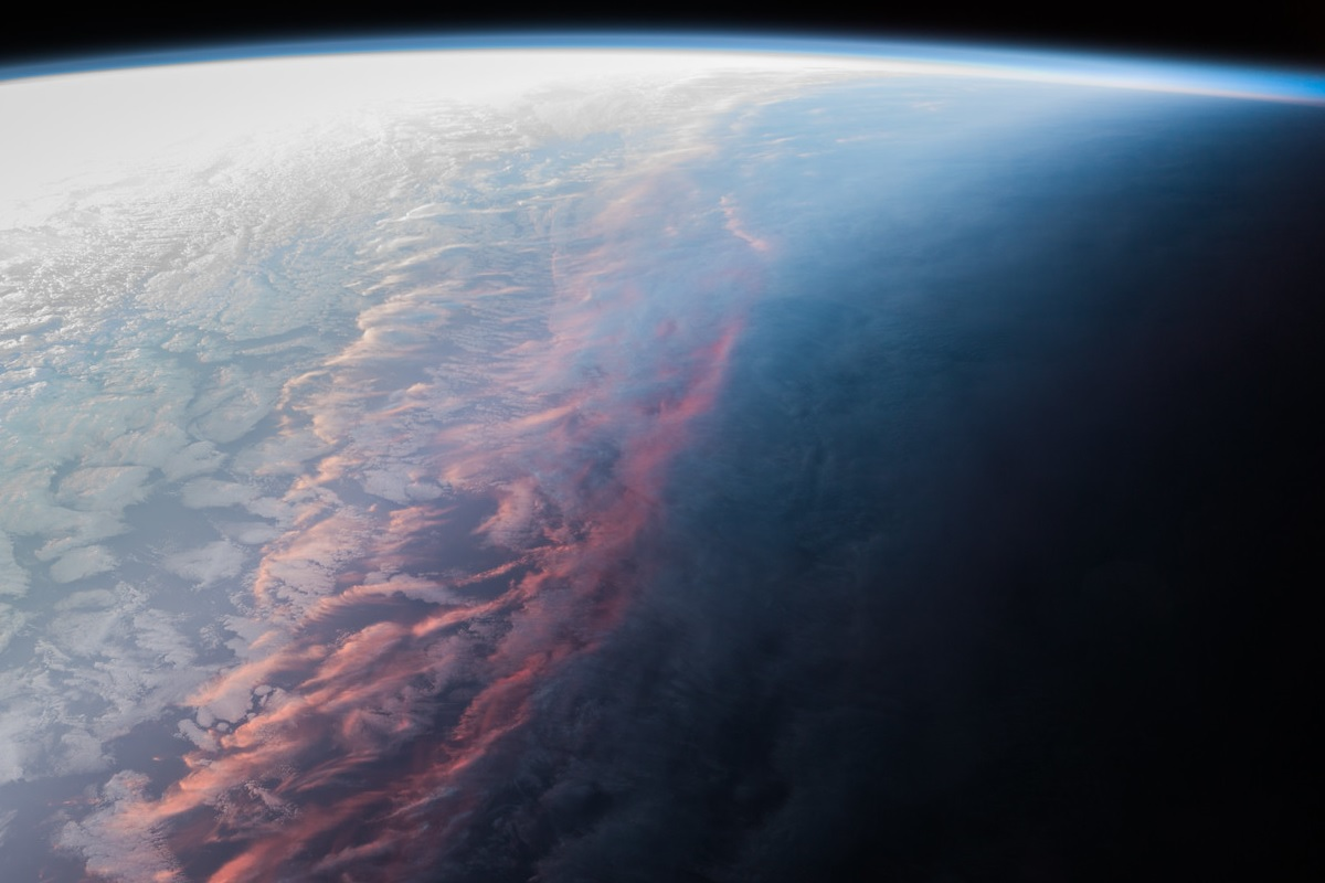 A view of a sunset on earth from space