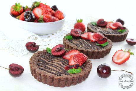 Spelt Tarts with Chocolate Mousse topped with Strawberries & Cherries