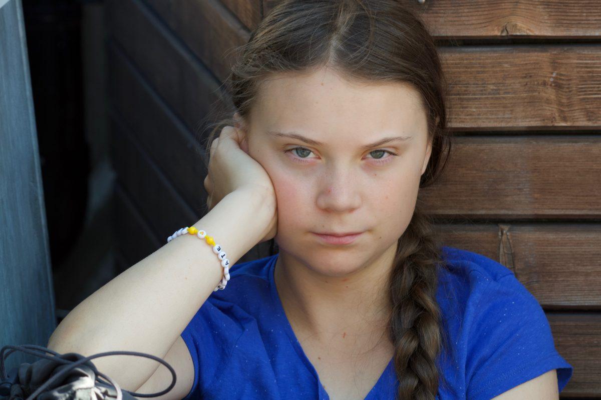 JULY 26, 2019: Greta Thunberg demonstrating outside the Parliament House, Stockholm.