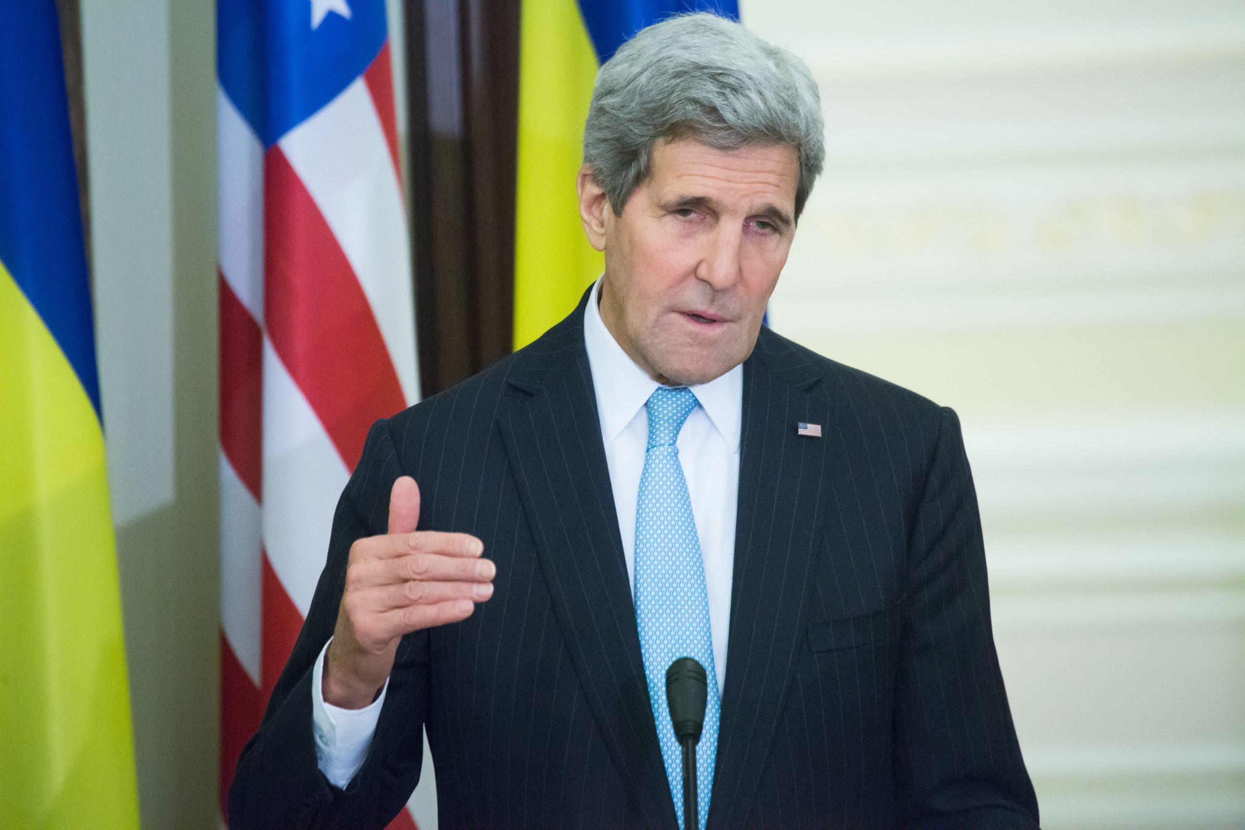 John Kerry addressing an audience.