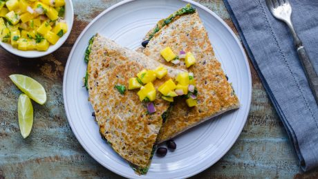 Black Bean, Spinach & Smoked Gooda Cheeze Quesadillas