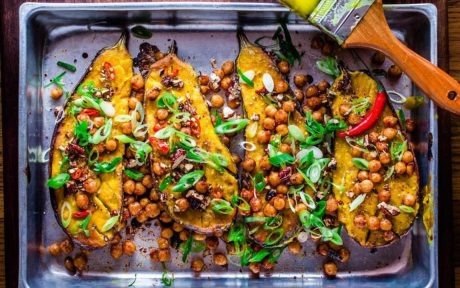 miso glazed eggplant with spicy chickpeas