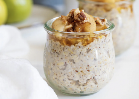 Vanilla Overnight Oats + Maple Spiced Pears