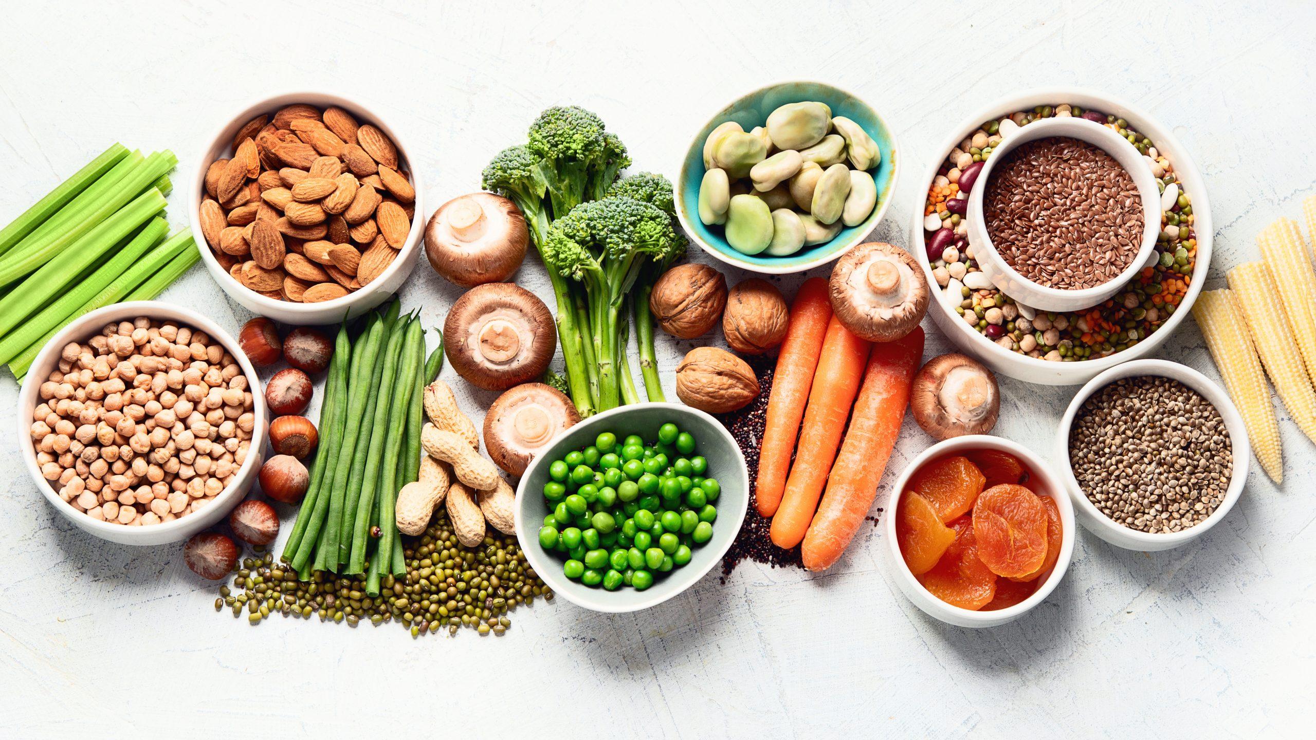 Plant-based diet foods.