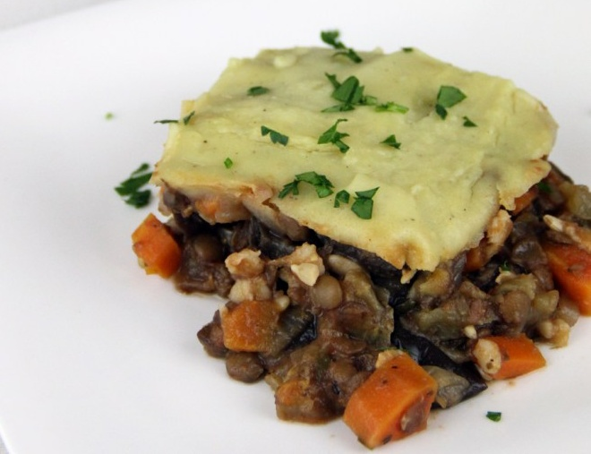 Moussaka with Eggplant and Lentils