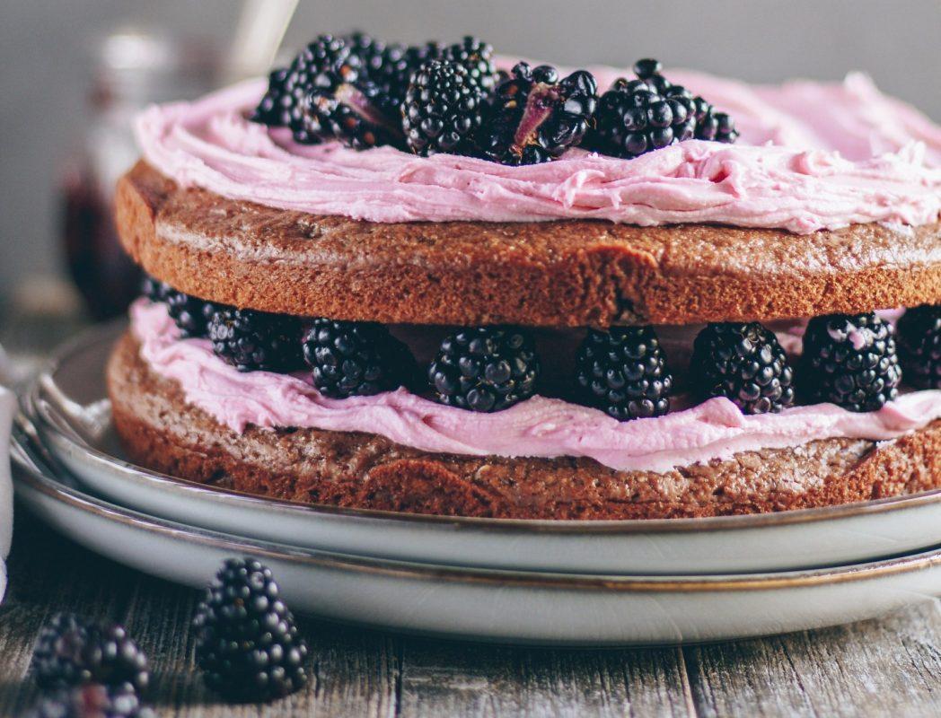 Vegan Dark Chocolate Raspberry Cake