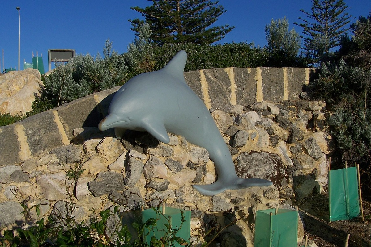 A sad-looking fake dolphin attached to a stone wall