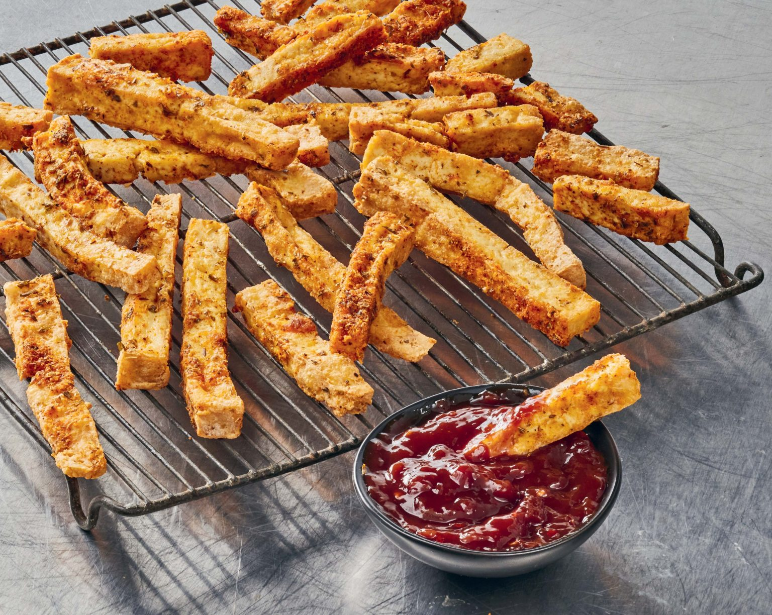 Vegan Tofu Fries with Chili Lime Ketchup