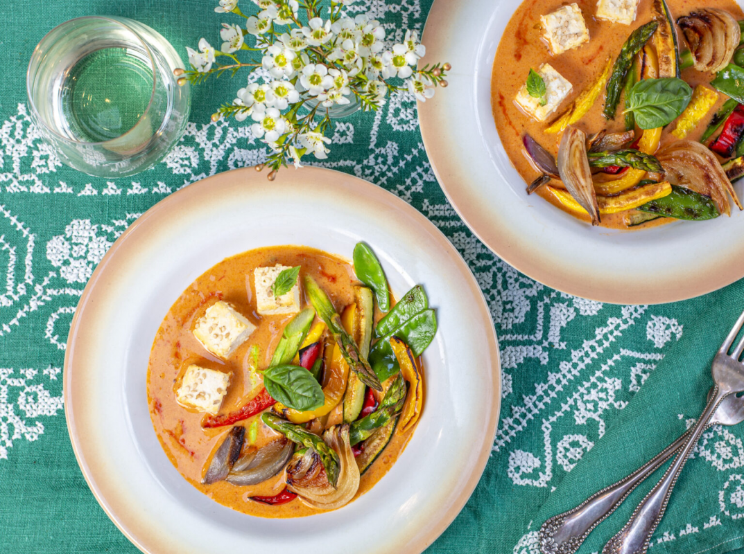 Vegan Red Coconut Curry with Sesame Tofu and Roasted Vegetables
