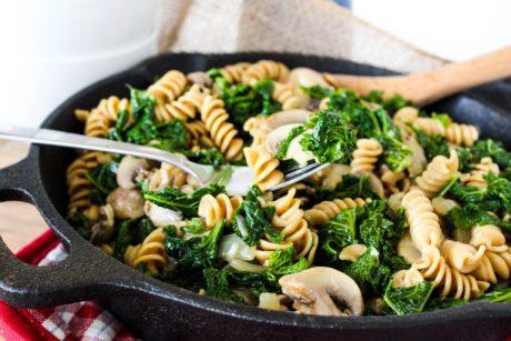 kale mushrooms pasta