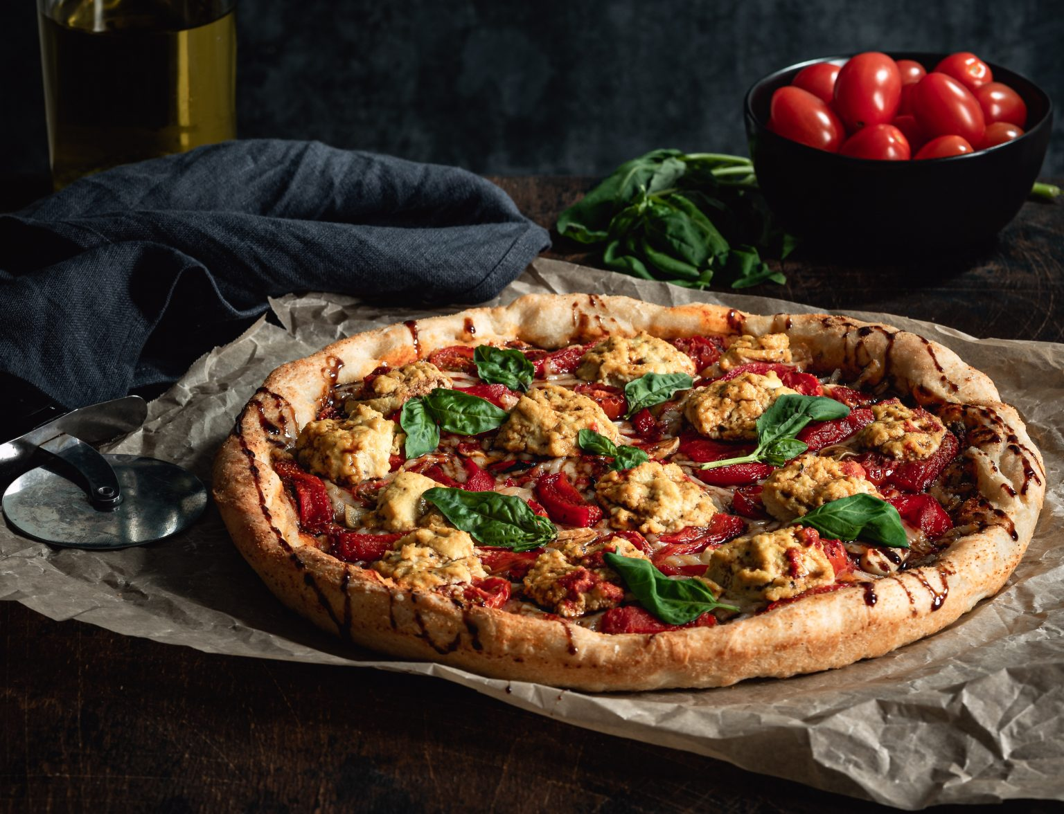 Vegan Roasted Red Pepper Pizza with Tofu Ricotta and Balsamic Glaze