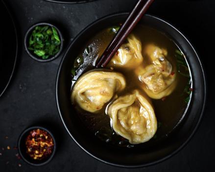 Sweet & Spicy Tofu Wonton Soup