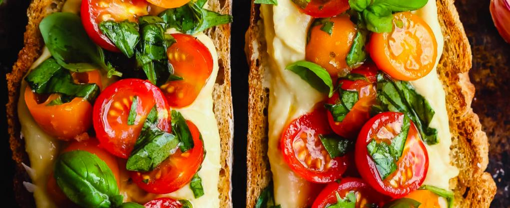 Vegan Hummus and Tomato Bruschetta