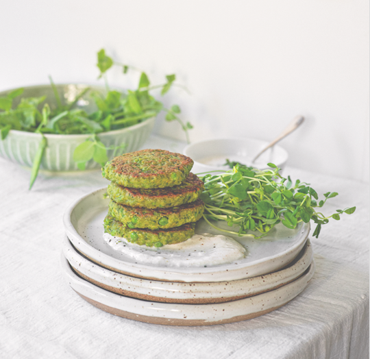 Vegan Spring Pea and Mung Bean Fritters
