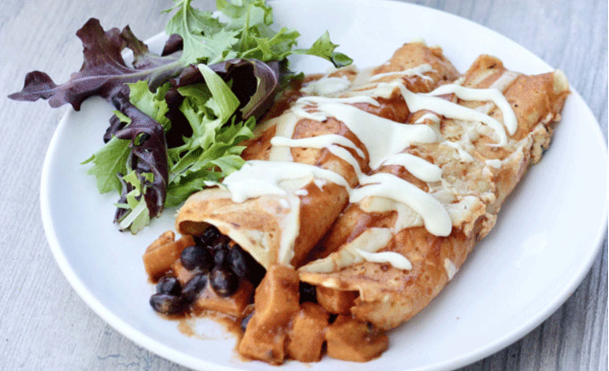 Sweet Potato Black Bean Enchiladas [Vegan, Gluten-Free]