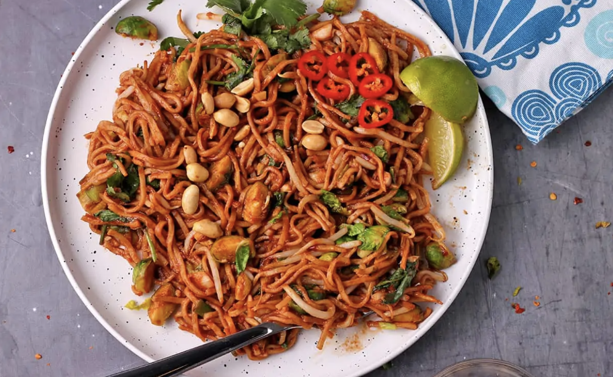 Photo of Thai Brussels Sprouts with Noodles [Vegan]