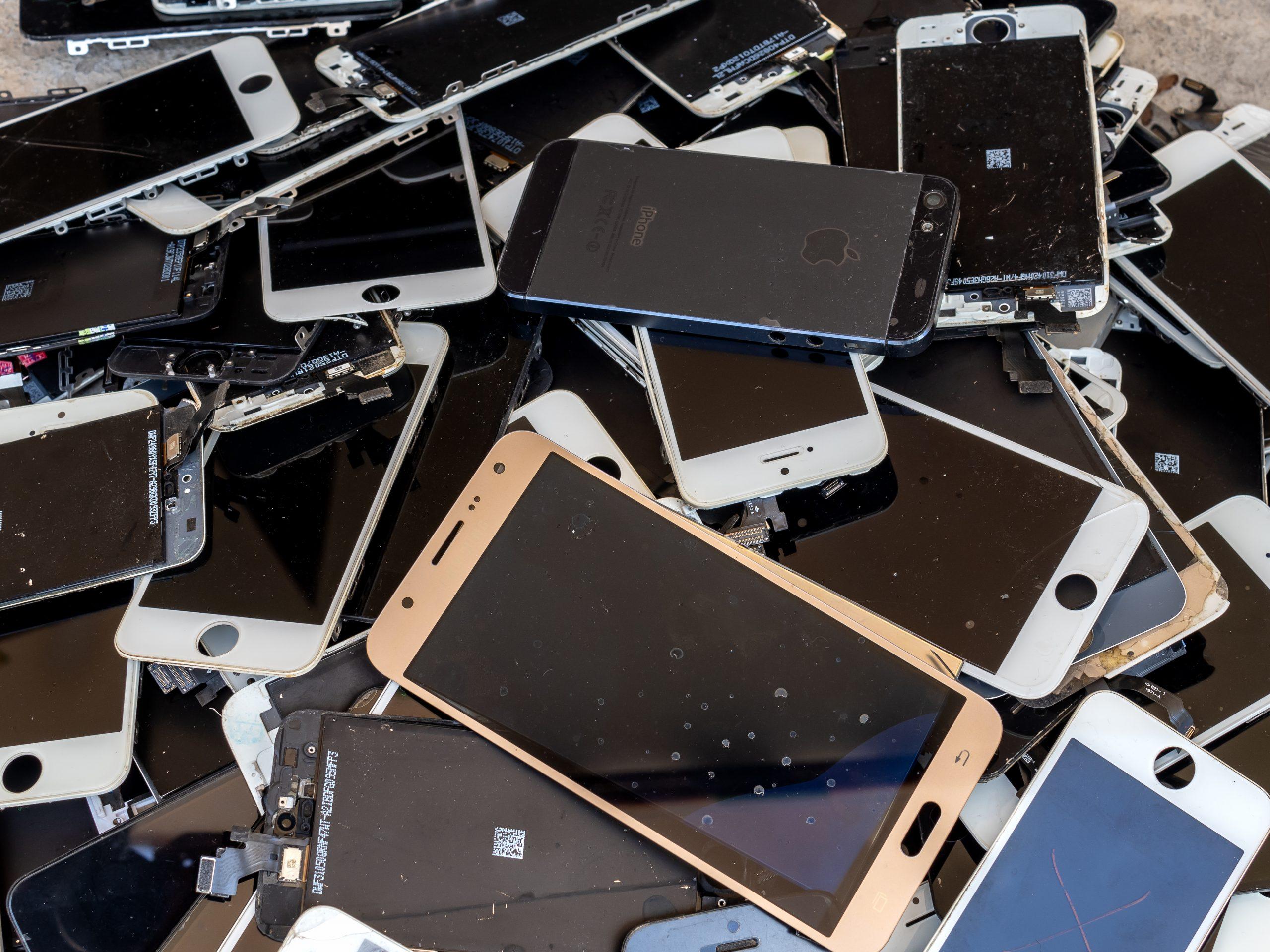 e waste phone pile