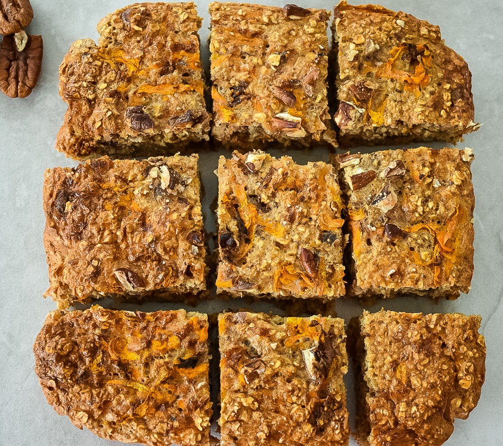 Carrot Cake Oat Bars [Vegan]