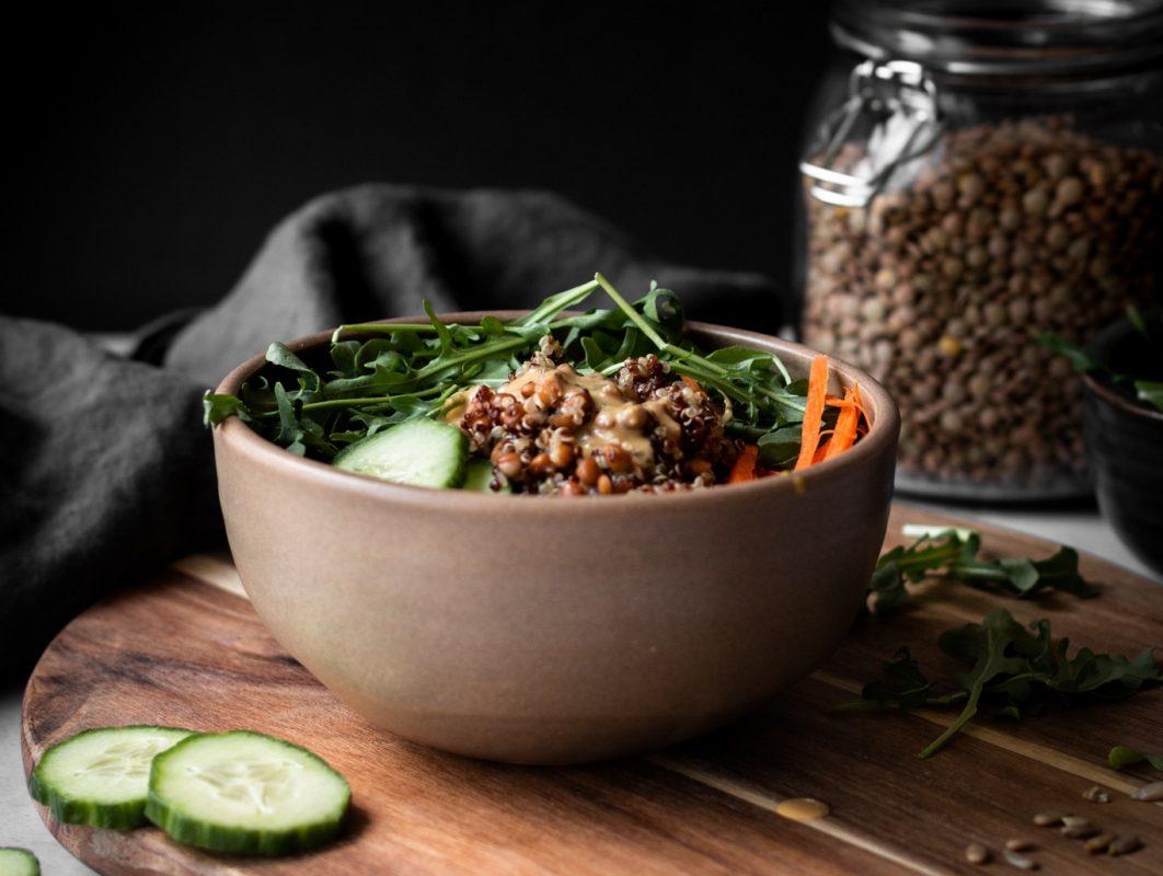 Vegan Lentil Quinoa Salad with Nutritional Yeast Dressing