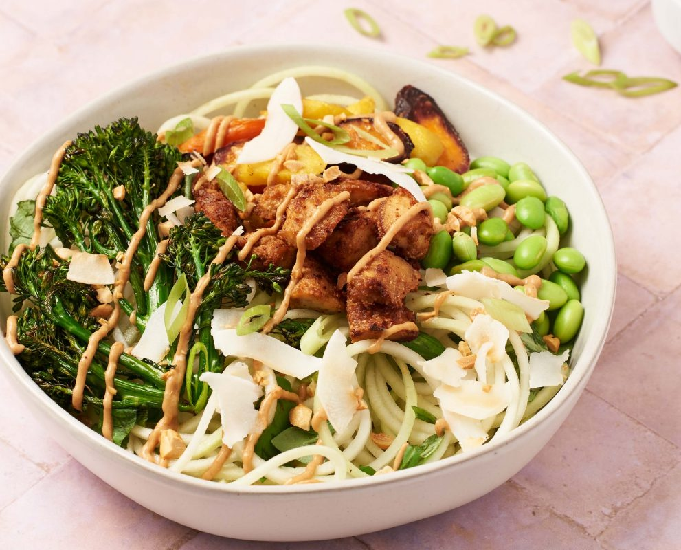 Roasted Vegetable and Kohlrabi Noodle Bowls with Peanut Sauce [Vegan]