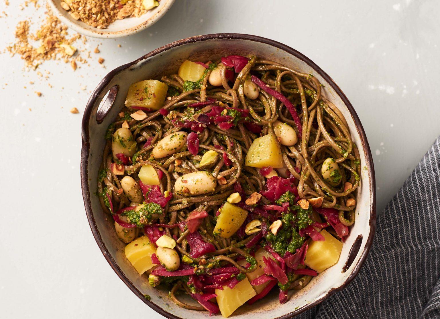 Vegan Kale Pesto Soba Noodle Bowls