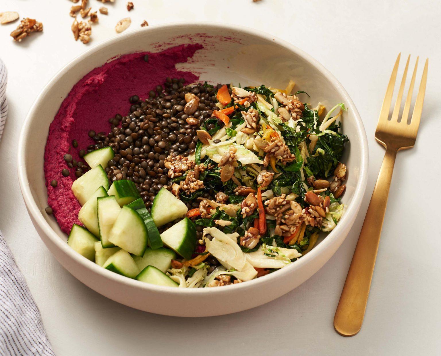 Vegan Roasted Beet Hummus Bowls